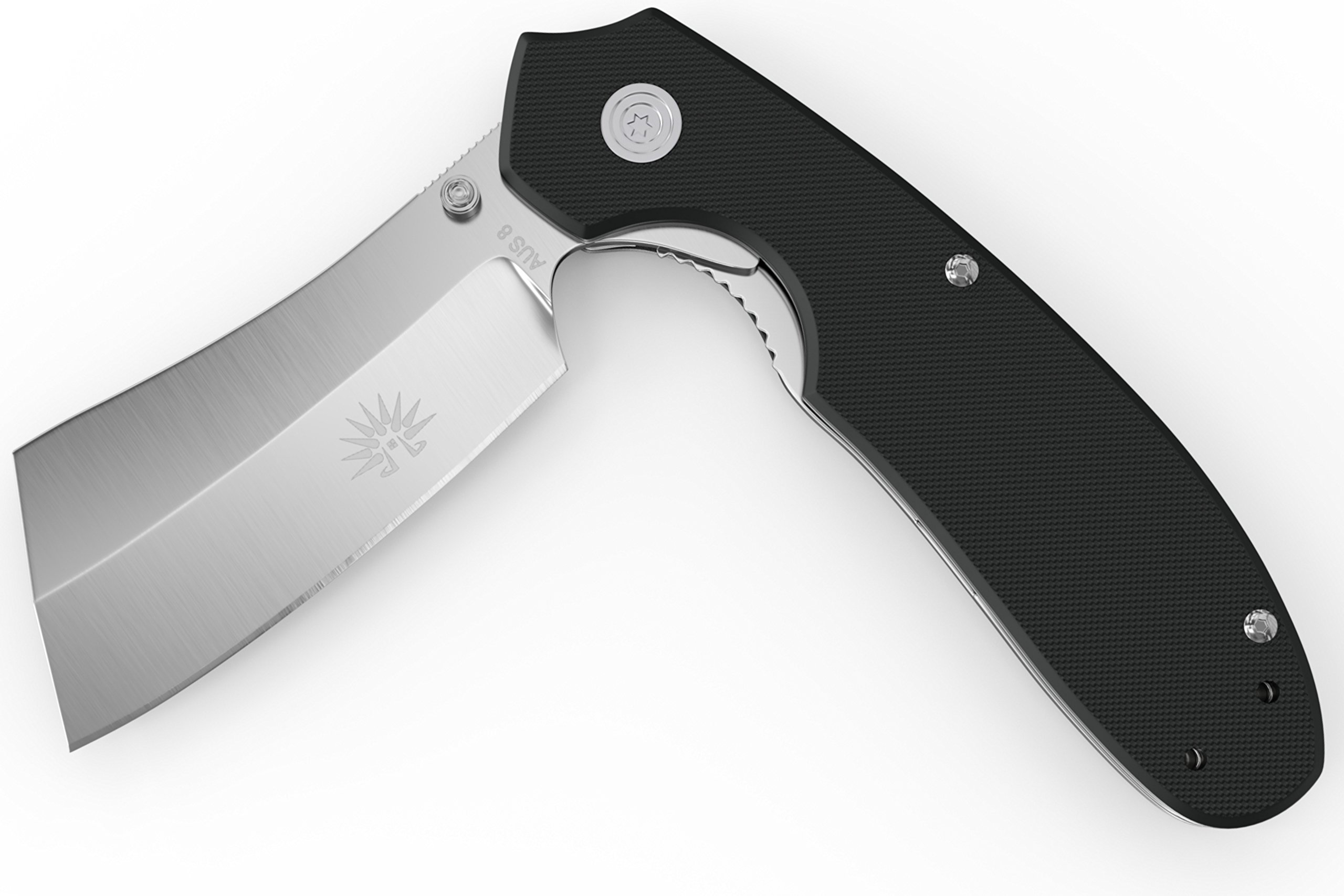 Off-Grid Knives - OG-950 Cleaver Flipper Knife - Assisted, Cryo Japanese AUS-8 Blade, G10 Handle, Tip-Up Left or Right Hand Deep Pocket Carry by Off-Grid Knives (Image #7)