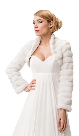 d8f8d600b OssaFashion-BridalWear Wedding Mink Faux Fur Bridal Jacket Shrug Cape Long  Sleeve Bolero Full Lined at Amazon Women's Coats Shop