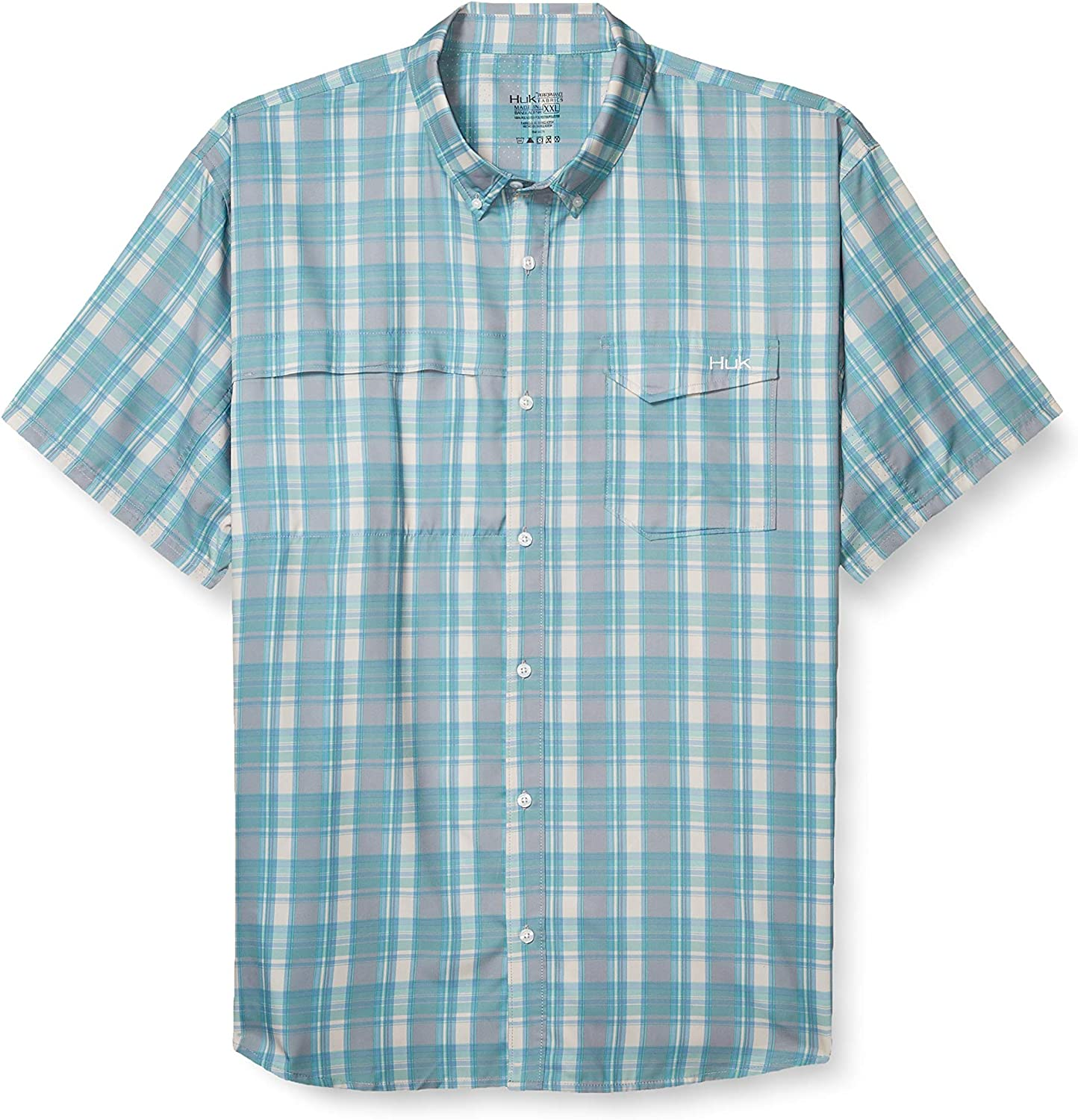 HUK Mens Tide Point Woven Plaid Short Sleeve Shirt | Button Down Performance Shirt with UPF 30+ Sun Protection