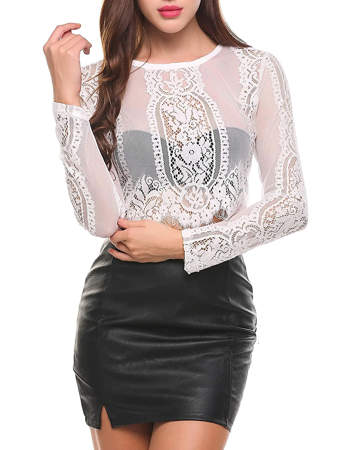 1f62eea32cc SoTeer Women s Fashion Slim Fit Lace Long Sleeve Short Sleeve Sexy Sheer  Blouse Mesh Lace Crop Top Shirt (S-XXL) at Amazon Women s Clothing store