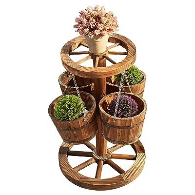 LOKATSE HOME Rustic Patio Wooden Wagon Barrel Wheel Planter Flower Pots with Buckets, Wood : Garden & Outdoor