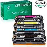 GREENSKY 4 paquetes cartucho de tóner compartible de reemplazo para HP 131X CF210X CF211A CF212A CF213A para HP LaserJet Pro 200 Color M251n Color M276n M251nw M276nw (No ajuste para M254nw)