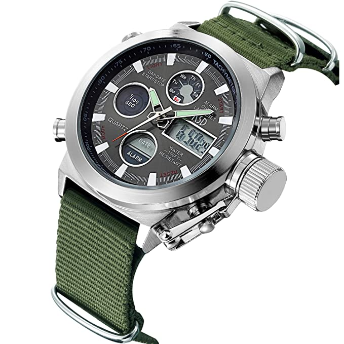 Reloj con correa de tela verde