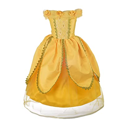 Dressy Daisy Girls Princess Dress Up Costumes Halloween Fancy Party Dress Golden Trimmed: Clothing
