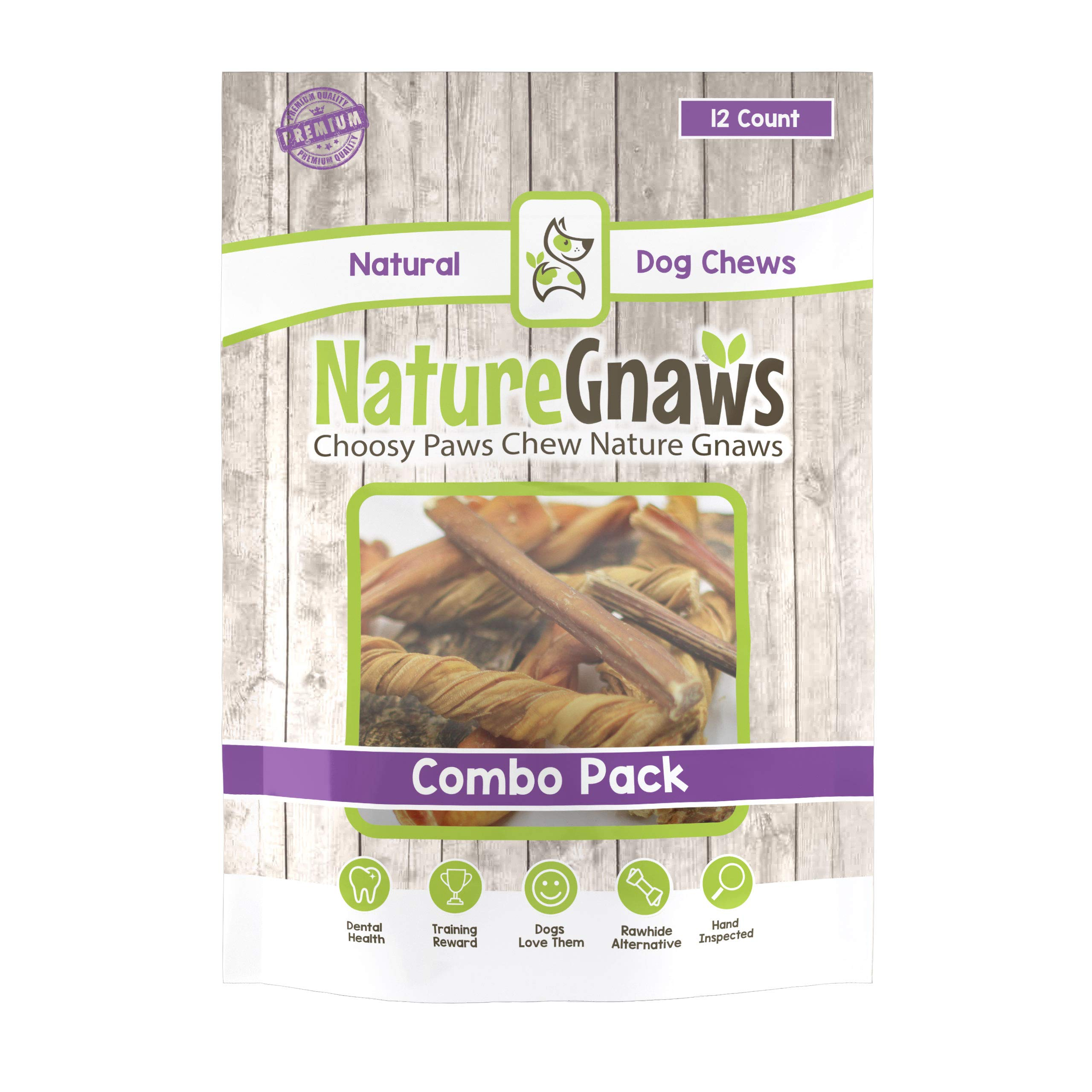 Nature Gnaws Small Variety Pack (12 Count) - 100% Natural Dog Chew Treats by Nature Gnaws