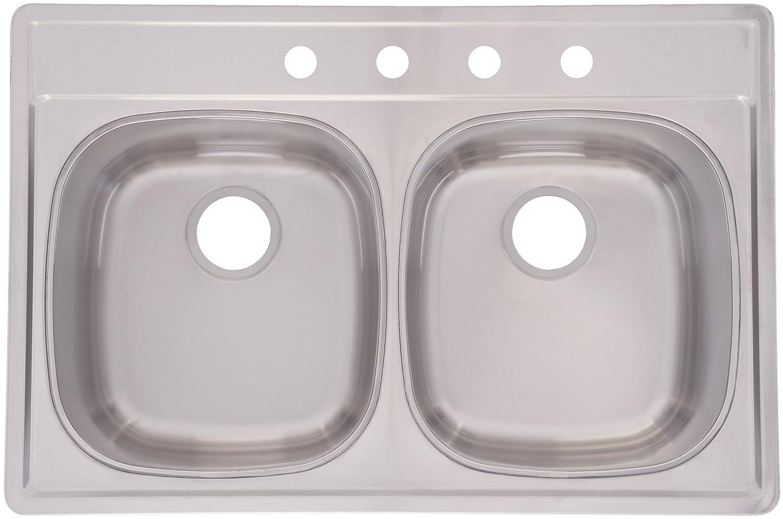 Franke Dsk954 18bx Double Bowl Stainless Steel 33x22in Topmount Sink Amazon Com