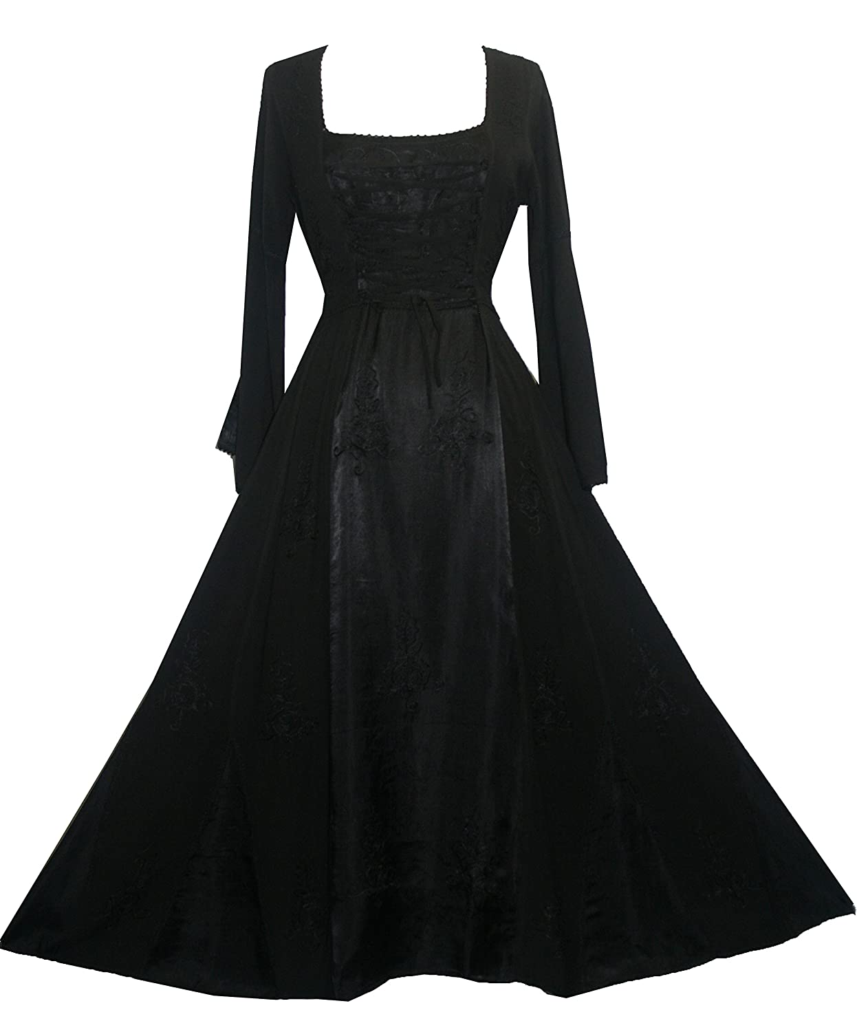 ac2081fcd8 Gorgeous renaissance design long embroidered dress with satin flare. Fabric  is 100% Rayon Viscose. It has corset ties front and back to curve your body  for ...