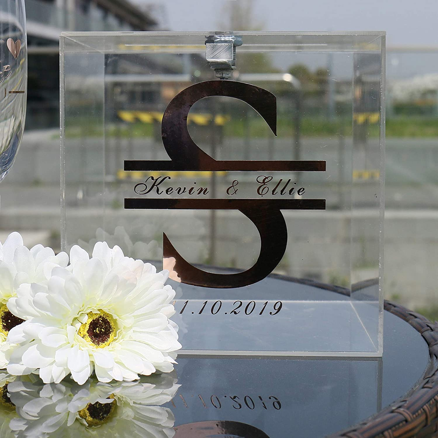 Wedding Monogram Names Date Crystal Acrylic Box with Lid and Lock Key Black Text Custom Party Card Holder Donation Ceremony Decoration ACB1A Personalized Wedding Card Box for Reception