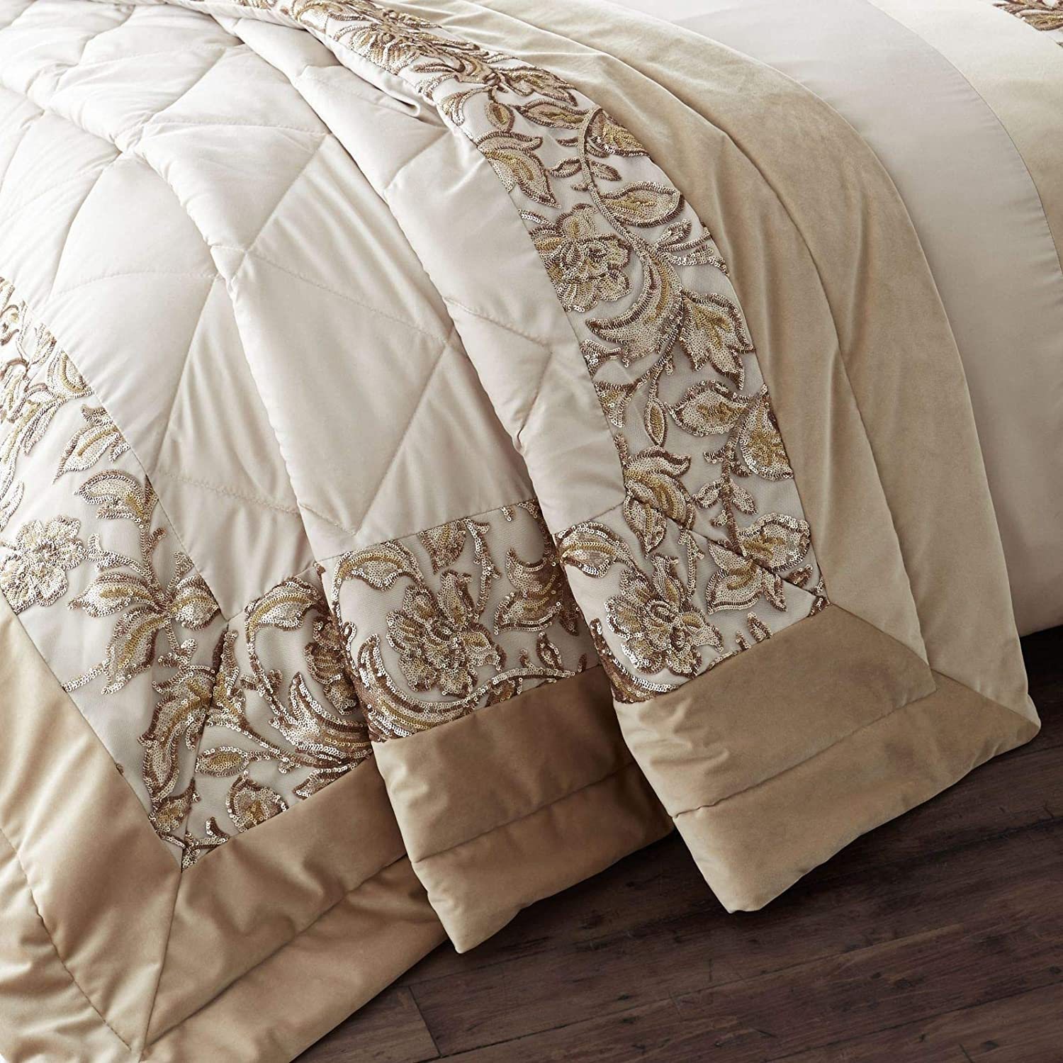 Catherine Lansfield Sequin Trail Bedspread Gold 240x260cm Turner Bianca BD/49371/W/24026/GO