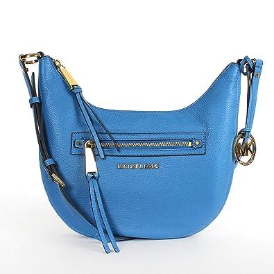 64f8c6a66e61c5 Amazon.com: Michael Kors Rhea Zip Small Messenger in Heritage Blue: Shoes