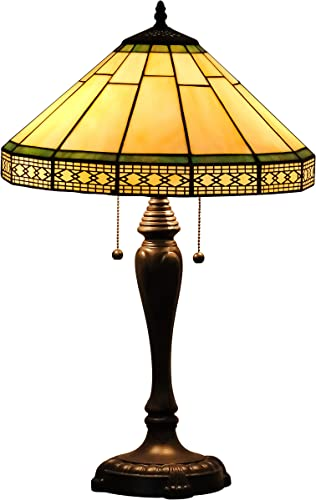 Speculo Lighting Tiffany Table Lamp W18H25 Inch Yellow Hexagon Lattice Stained Glass Shade Antique Brass Finish Metal Lamp Base