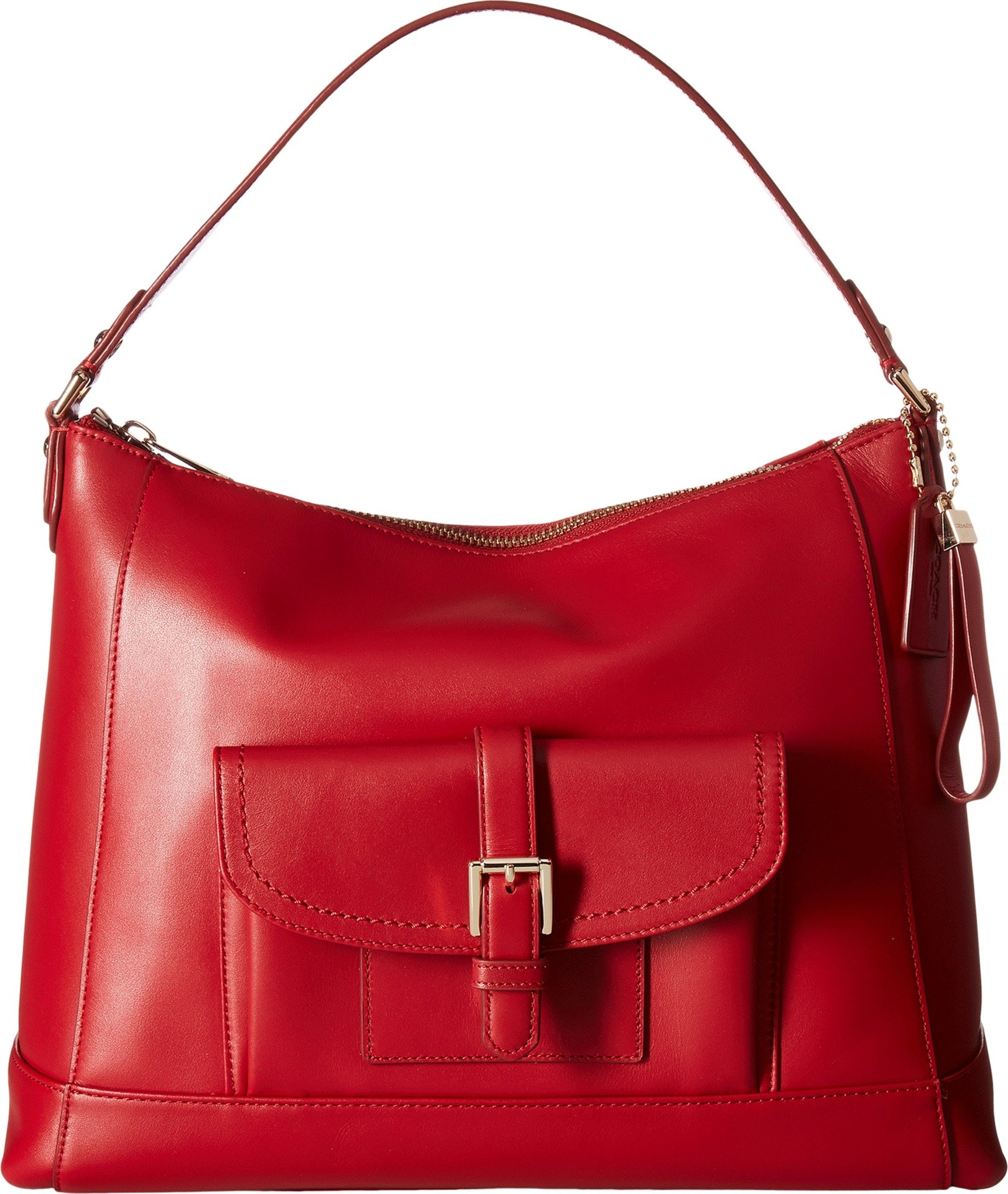 COACH Women's Charlie Leather Hobo Classic Red One Size
