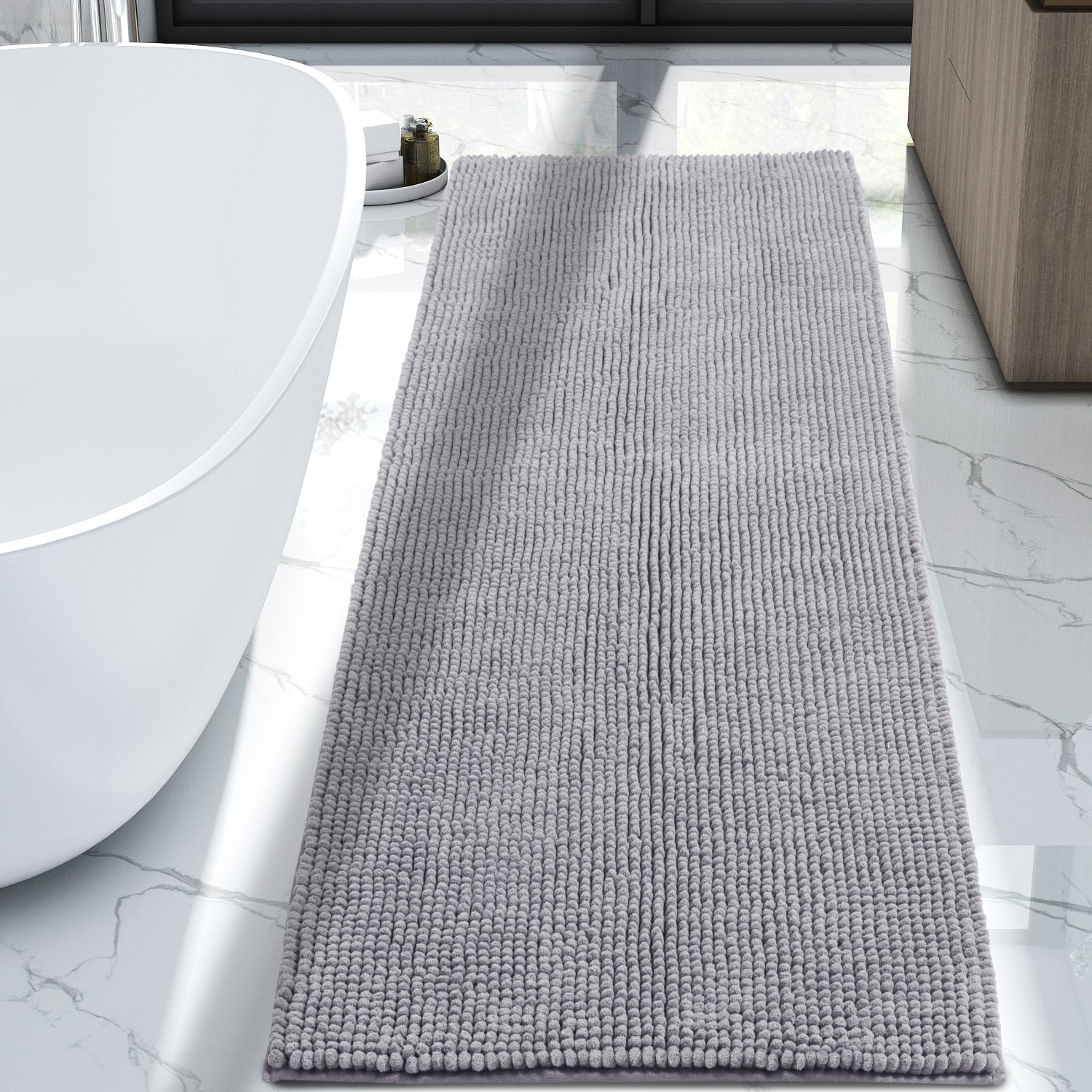 Lifewit 70.9'' x 25.6'' Bath Runner Rug Area Chenille Mat Rugs Bathroom Living Room Kitchen Machine Washable Shag Rug Grey