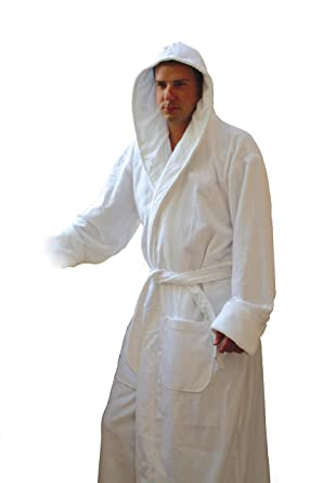 Image Unavailable. Image not available for. Color  Mens 3 Pound White Hooded  Terry Bathrobe ... 9cf7162e0