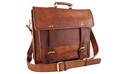 New Genuine Leather Briefcase Bag Vintage Old Antique Look