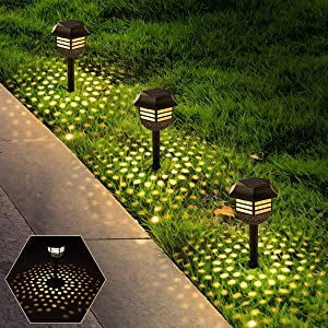 8 Pack Solar Pathway Lights Outdoor Solar Garden Warm White Lights Waterproof Solar Powered Led Path Lights Auto On/Off Decoration for Garden Pathway Landscape Walkway Yard Lawn Patio