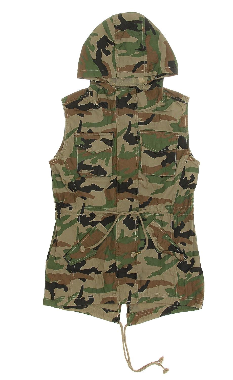 Soho Babe Juniors Light Weight Twill Fishtail Sleeveless Hoodie Vest