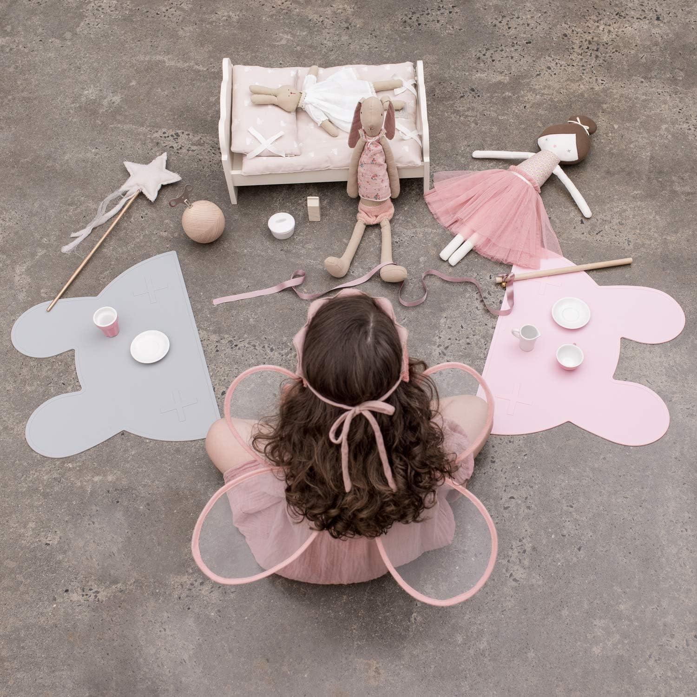 Set de table lapin sans BPA et passe au lave-vaisselle Set de table en silicone pour b/éb/és et enfants en forme de lapin rose sombre We Might Be Tiny