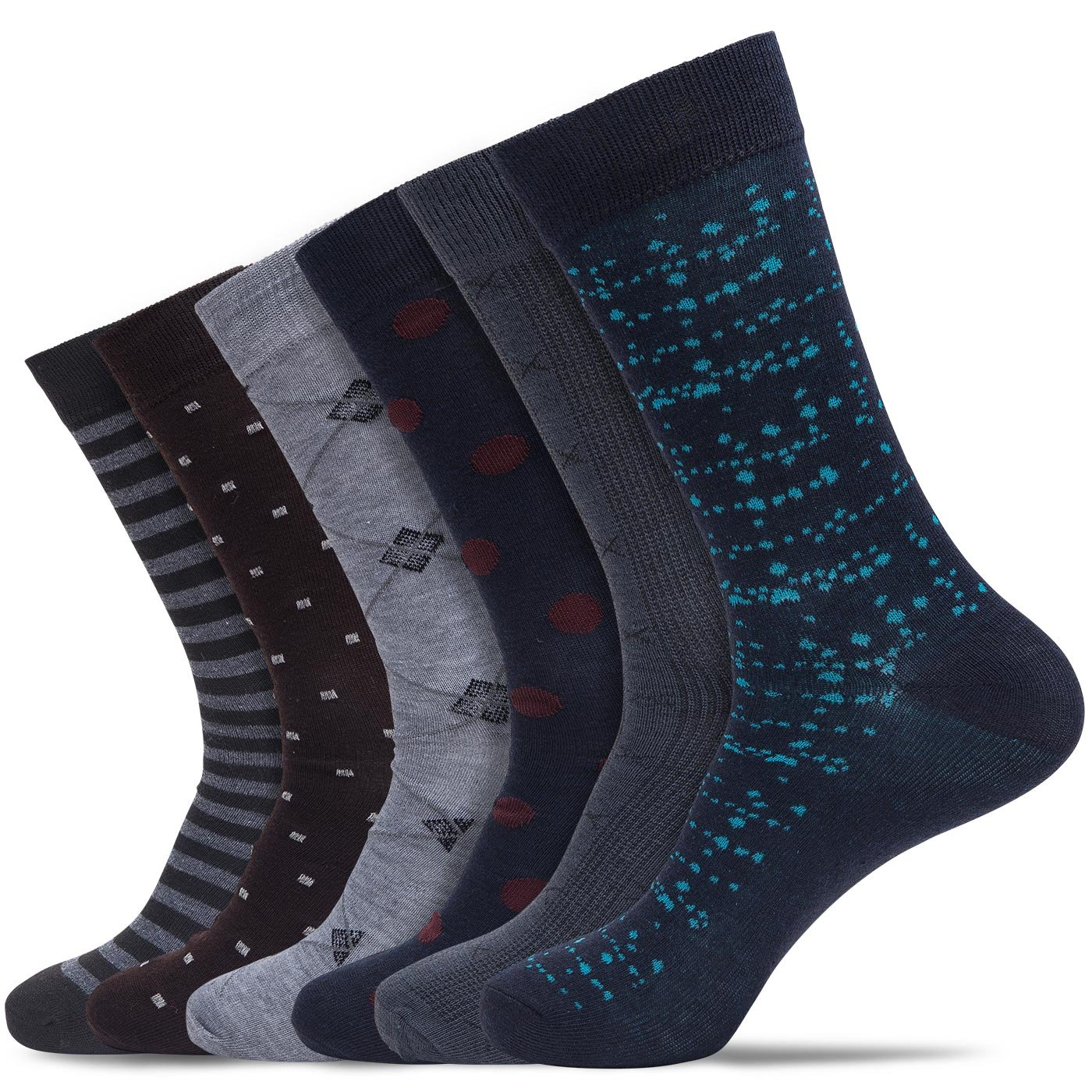 Active Premium Mens Thin Weight Mid-to-Lower Calf Professional Design Business Dress Socks (6 Pairs) (Classic Multi, Shoe: 8-12/Sock: 10-13)