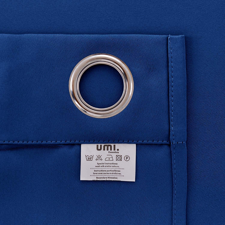 UMI Essentials 2 St/ück Verdunkelung Gardinen /Ösen Thermogardine Verdunklungsvorhang 138x117 cm Schwarz