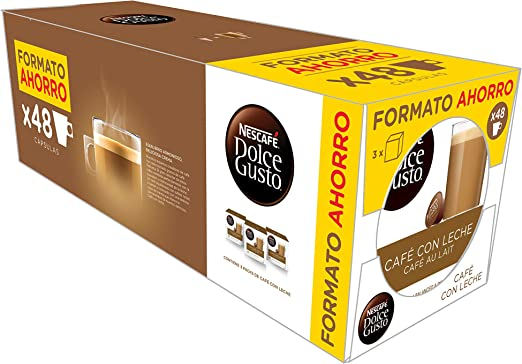 Exclusivo Nescafé Dolce Gusto Café con Leche, Pack de 3 x 16 ...