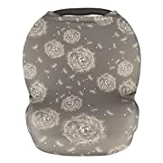 Premium Soft Grey Multi-Use Cover for Nursing, Carseat Canopy, Baby Car Seat, Breastfeeding Scarf, Shopping Cart, for Boys and Girls - Best Baby Shower Gift Set (Gray)