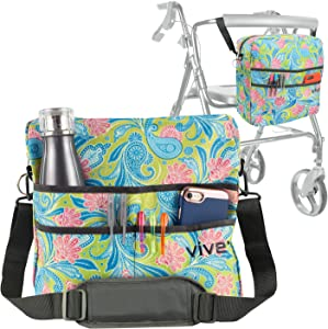 Vive Rollator Bag - Universal Travel Tote for Carrying Accessories on Wheelchair, Rolling Walkers & Transport Chairs - Lightweight Laptop Basket for Handicap, Disabled Medical Mobility Aid Pouch
