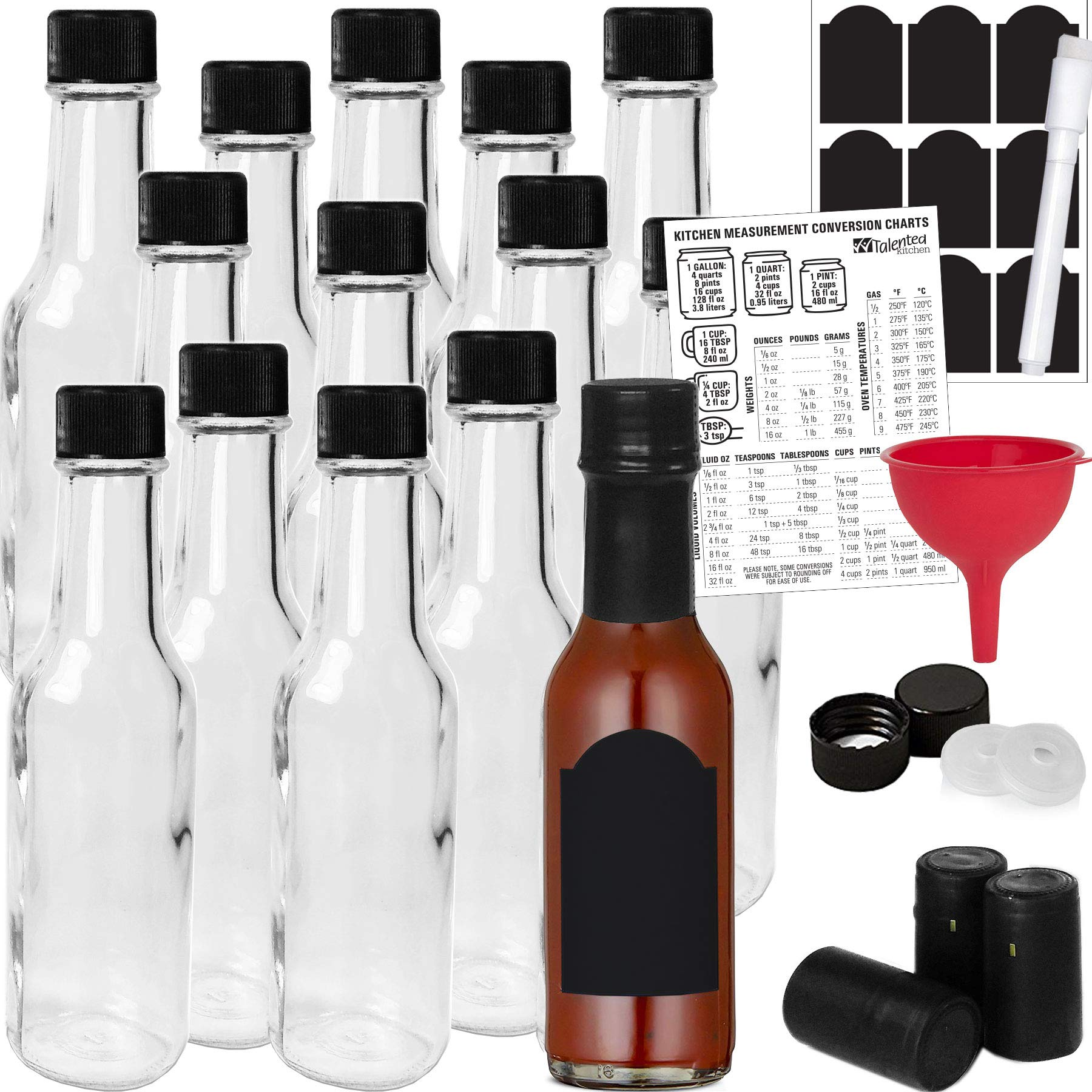 14-PACK Hot Sauce Bottles 5oz with Caps, Funnel for Kitchen, Chalkboard Labels, Shrink Capsules, Dripper Inserts. Mini Wine Bottle Hot Sauce Kit, 5 Oz Woozy Glass Bottle Dasher by Talented Kitchen by Talented Kitchen
