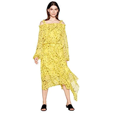 ae1a94fc8bc1 Studio by Preen Womens Yellow Floral Print Chiffon Cold Shoulder High Low  Dress