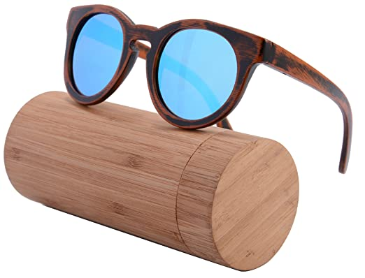 shinu round retro wood sunglasses natural zebra wood frame gradient glasses z6011 with case - Wood Frame Sunglasses