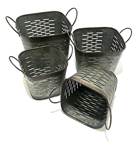 Merveilleux Vintage Garden Flower Pots Rustic Planters Lightweight Galvanized Metal  Square Olive Bucket Or Basket Set Of