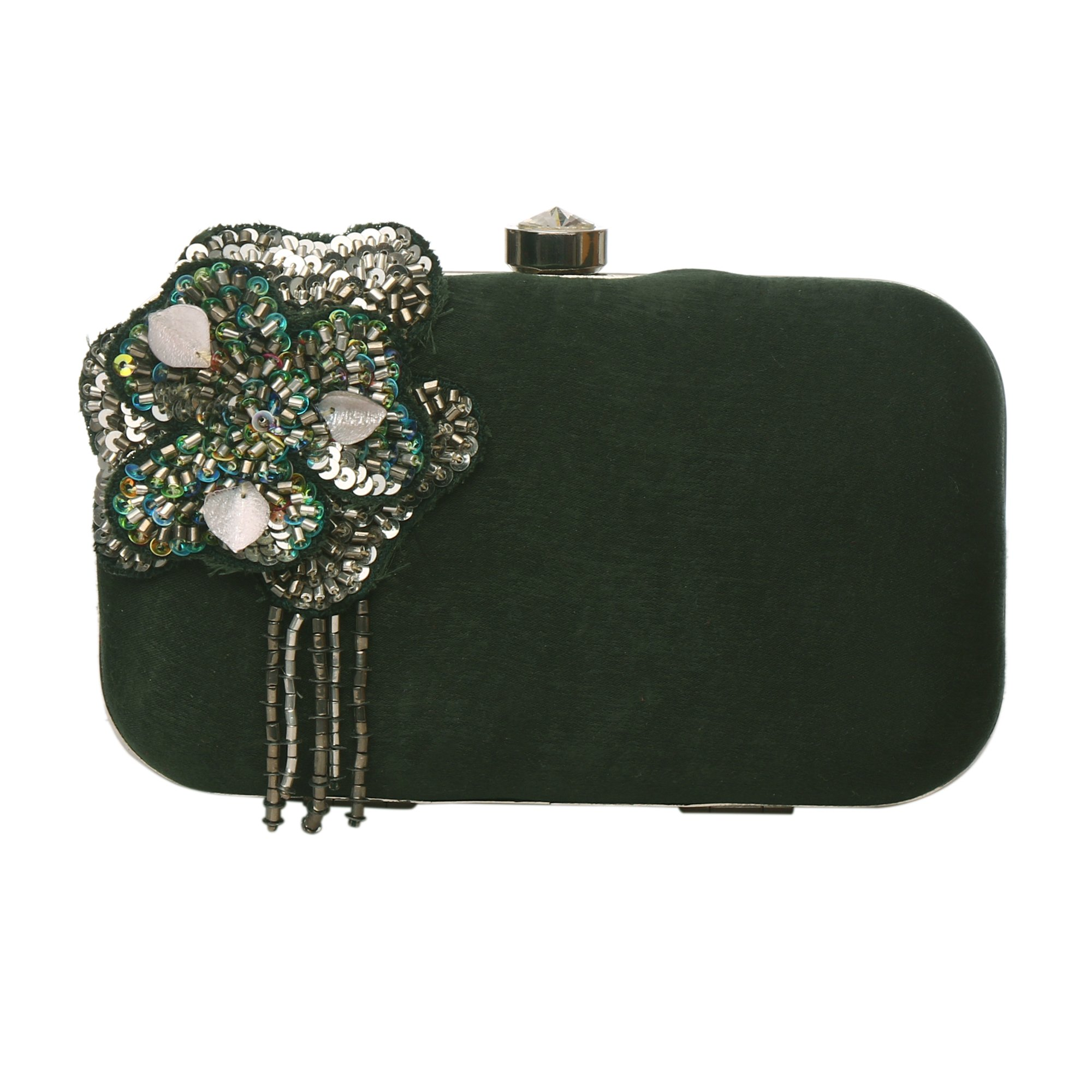 MONOKROME NEW YORK Clutches for women hardcase hand embroideredhandmade greenevening party clutch