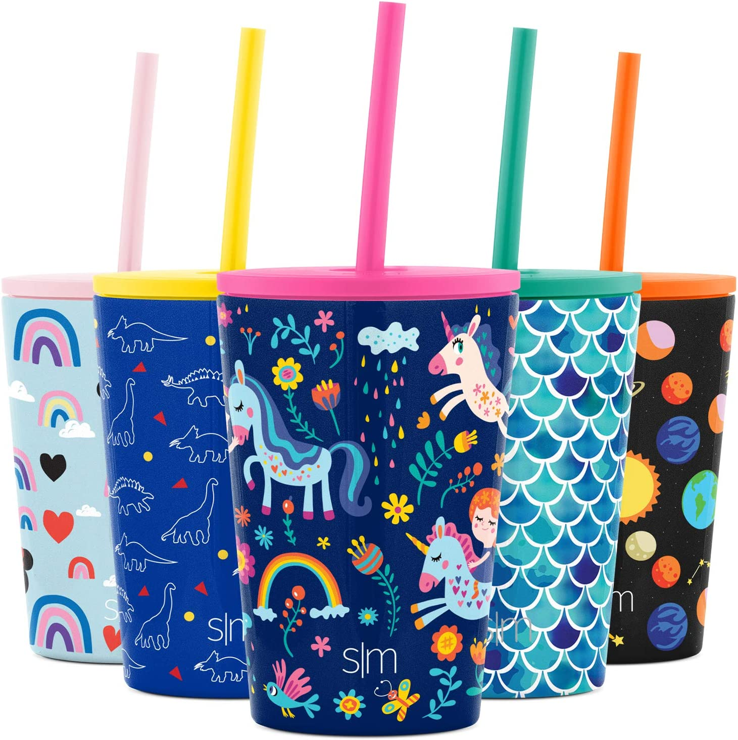 Simple Modern Kids Insulated Water Bottle Cup with Straw Stainless Steel Flask Metal Thermos for Toddlers Boys and Girls, 12oz Tumbler, Unicorn Rainbows