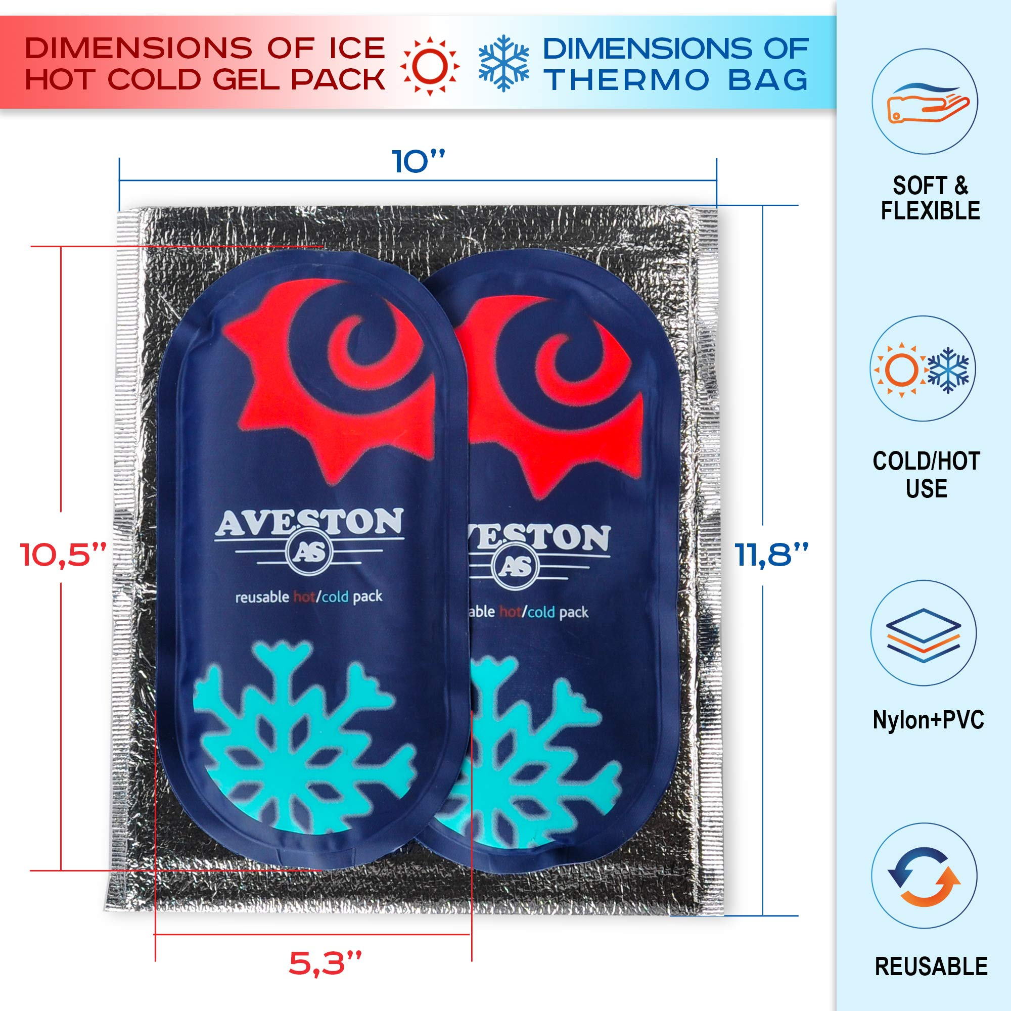AVESTON Ice Gel Cold Pack for Injuries – Reusable Flexible 2 Ice Packs Set for Knee Ankle Back Shoulder Neck Hot Cold Therapy Compress for Women Men + Free Thermal Bag by AVESTON (Image #2)