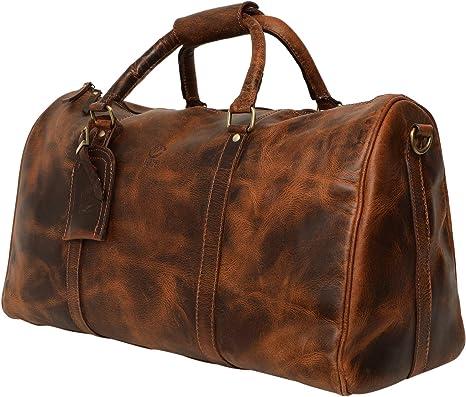 Vérifié Brown Holdall Sac Cabine Bagage à Main Voyage Vacances Sac de transport UK Vendeur
