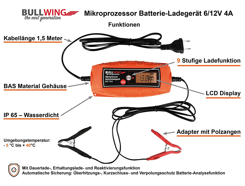 Bullwing Batterieladeger/ät Mikroprozessor 6//12V 4A Vollautomatisches Batterie Ladeger/ät Auto KFZ Motorrad Universal orange