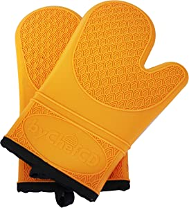 ByChefCD Professional Silicone Oven Mitts/Heat Resistant Gloves Non-Slip Professional Cooking Gloves, Kitchen Potholders and Oven Mitts, Best Oven Mitt- Orange