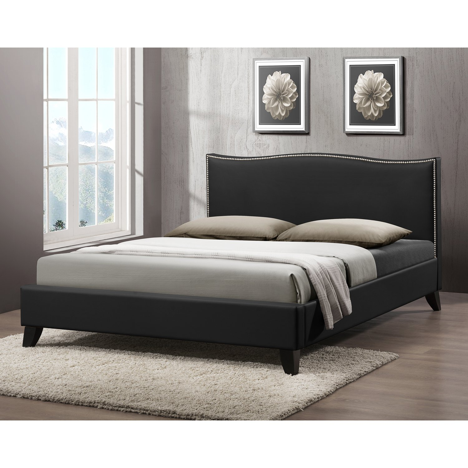 amazoncom baxton studio cfqueenblack battersby modern bed  - amazoncom baxton studio cfqueenblack battersby modern bed withupholstered headboard queen black kitchen  dining