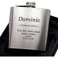 Laser engraved stainless steel 6 ounce hip flask with funnel. Includes engraving (Silver)