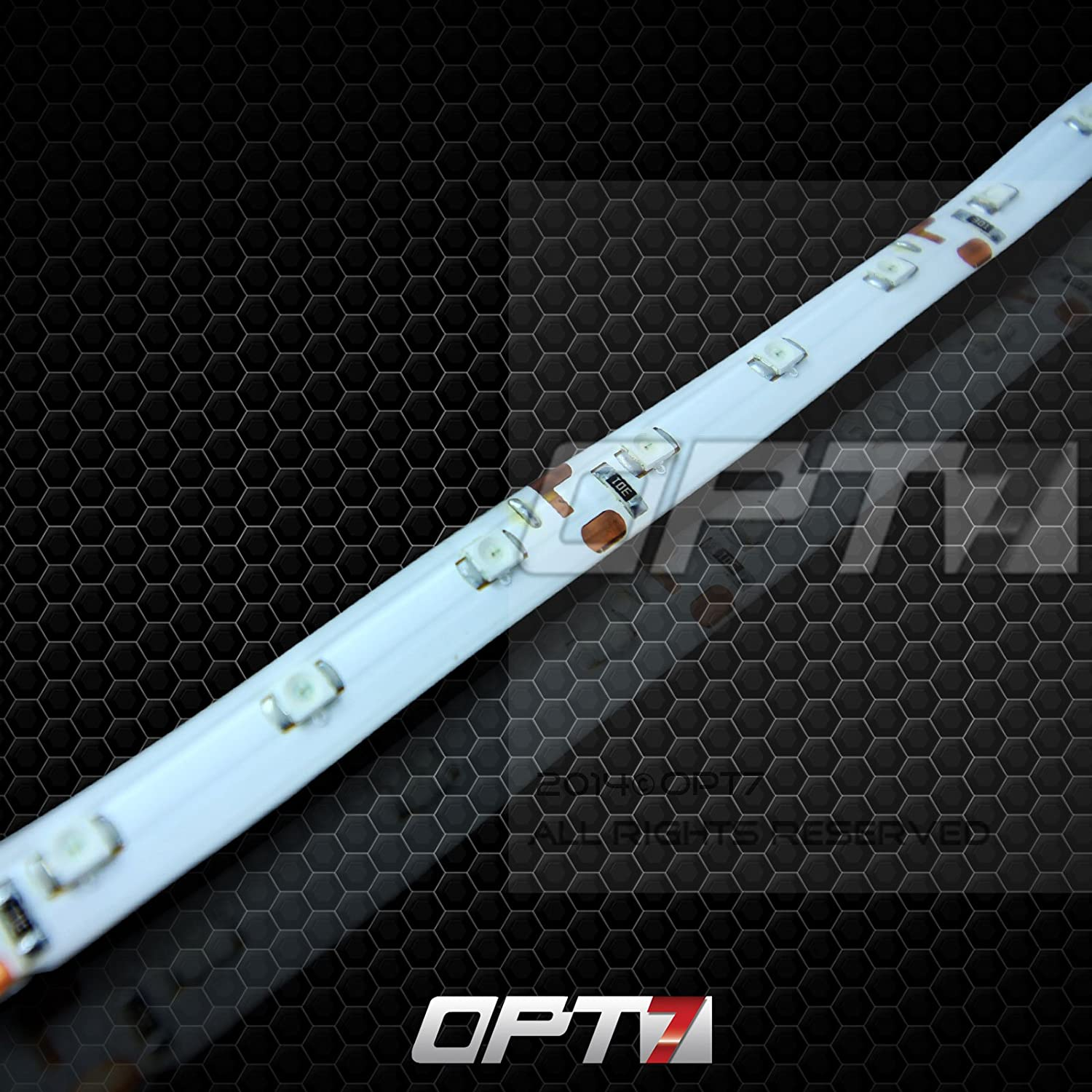 Red OPT7 Advanced Glow LED Strip with Strip Connectors and Remote 12-Inch