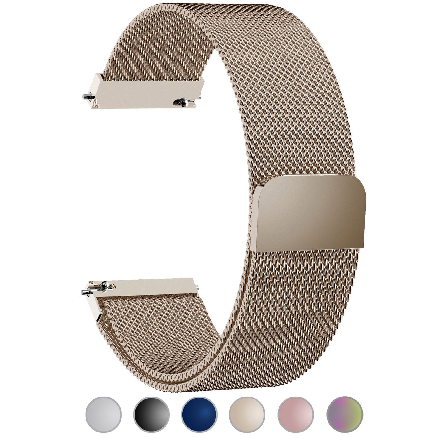 Fullmosa Compatible Huawei Watch Band, 18mm Watch Strap Quick Release Compatible Asus Zenwatch 2/LG Watch Style/Withings Activité/Steel HR 36mm Bracelet Milanese Watch Bands for Men Women, Gold