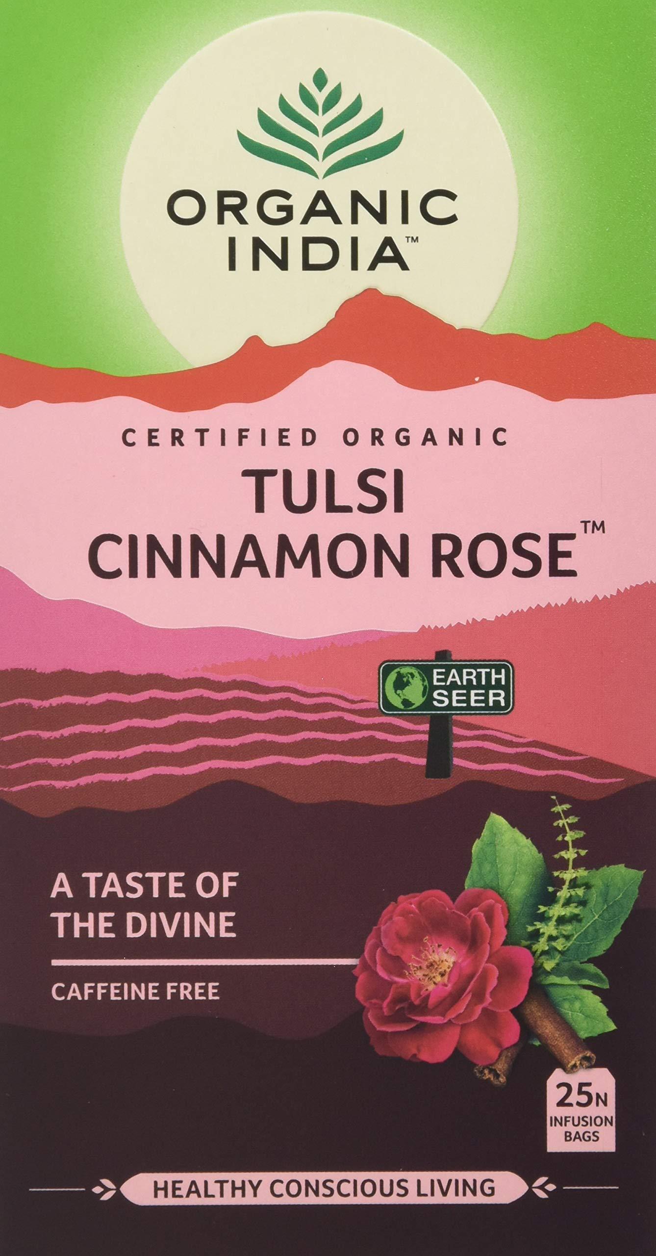 ORGANIC INDIA HEALTHY CONSCIOUS LIVING Tulsi Cinnamon Tea 25 Infusion Bags, Rose, 45 Gram