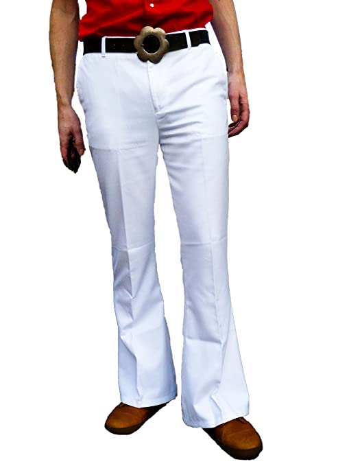 60s – 70s Mens Bell Bottom Jeans, Flares, Disco Pants Fuzzdandy Mens White Bell Bottoms Flares Trousers Pants High Rise 60s 70s Disco Hippy Pants $50.60 AT vintagedancer.com