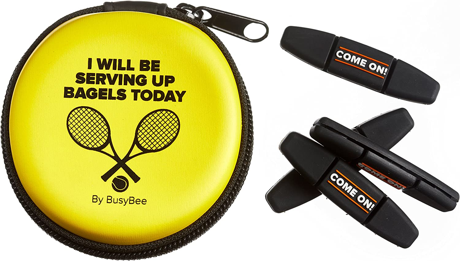 Tennis Vibration Dampener in Funny Zipper Gift Pack (Pack of 4). Best Shock Absorber for Your Racket and Strings