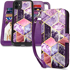 CASEOWL iPhone 11 Case, iPhone 11 Wallet Cases Magnetic Detachable with 9 Card Slots, Hand Strap, Marble Pattern 2 in 1 Folio Flip Leather Wallet & TPU Protective Case for Women Girls, Purple