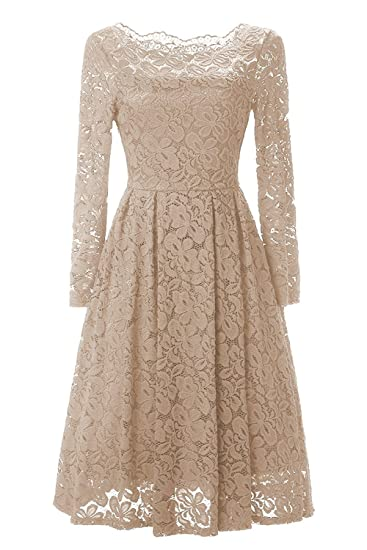 41c2259b97 Women s Vintage Floral Lace Long Sleeve Off Shoulder Cocktail Formal Swing  Dress