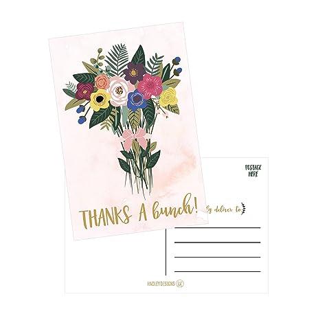 50 4x6 watercolor floral thank you postcards bulk modern cute boho flower blank thanks note