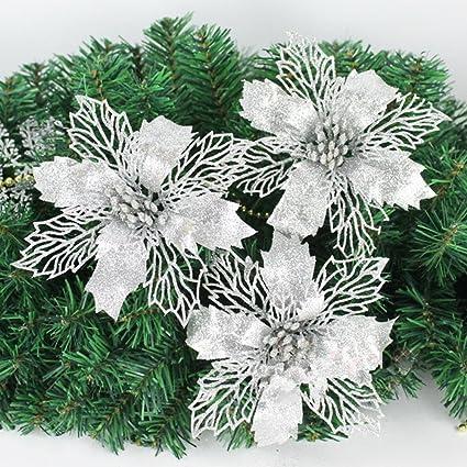 Amazon.com: New Glitter Artificial Wedding Christmas Flowers Glitter ...