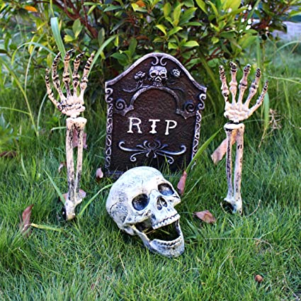 Mitcien Halloween Decorations Outdoor Scary Yard Graveyard Lawn Garden  Decorations Clearance , Skeleton Stakes, Skull, and Tombstone RIP Set for