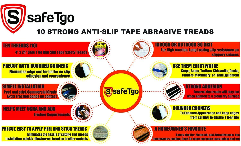 SafeTgo Pack Strong Translucent Clear Abrasive Treads High - Ada slip resistance
